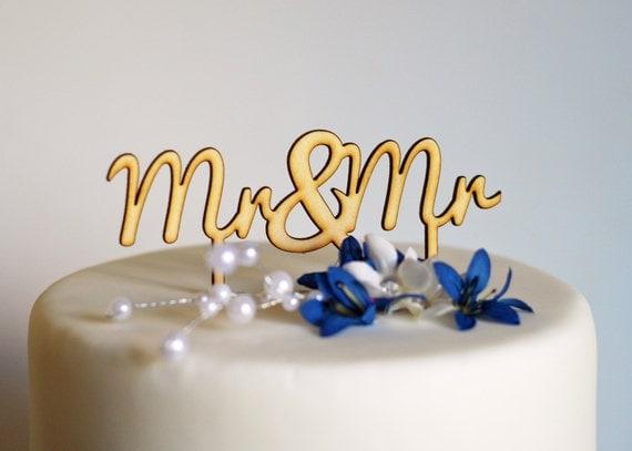 Mr & Mr Wedding Cake Topper - Same Sex gay Wedding Cake Topper LGBT