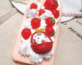 strawberries DIY 3D Bling Cell Phone Case Deco Kit
