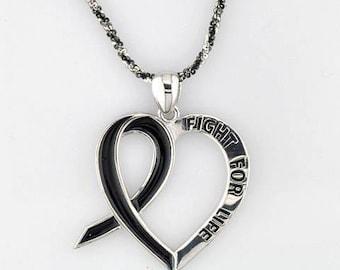 Cancer. Melanoma. Cancer heart pandent Sterling Silver  Cancer Awareness