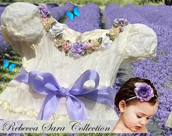 Heirloom Girls Dress, Victorian Girls Dress, Heirloom Victorian Girls Dress, Creme Chiffon Girls Dress, Rebecca Sara Collection