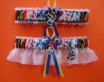 NASCAR Fabric Wedding Garter Set Prom Bridal Jewel Double Heart Charms