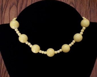 Bright Yellow Ceramic Beaded Necklace