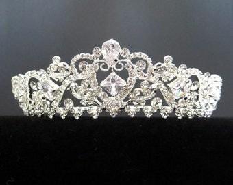 Bridal tiara, Gold Wedding tiara, Wedding headpiece, Silver Bridal tiara, Gold bridal headpiece, Bridal headband, Rhinestone tiara