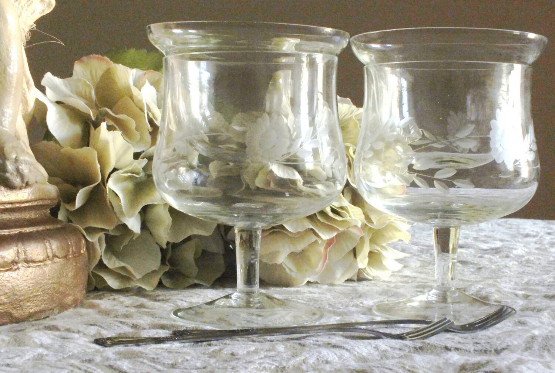 etched crystal shrimp cocktail sorbet dessert glasses. Black Bedroom Furniture Sets. Home Design Ideas