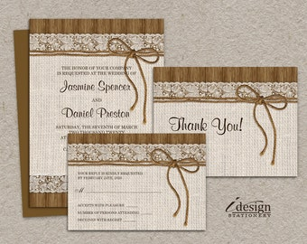DIY Printable Rustic Wedding Invitation Sets, Burlap And Lace Wedding Invitation Kits With Invite, RSVP Card and Thank You Card