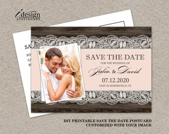 DIY Printable Blush Pink Rustic Photo Save The Date Postcard, Rustic Wedding Save The Date Photo Cards, Photo Save The Date Postcards