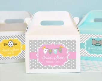 24 Personalized Pink and Gray Baby Shower Mini Gable Boxes