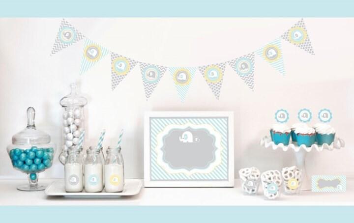 blue elephant baby shower decorations starter kit