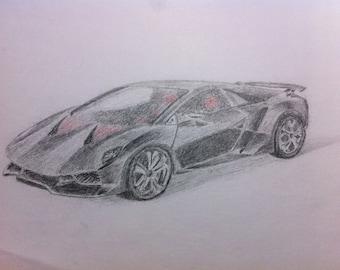 Sesto Elemento - Color pencil drawing of a Lamborghini Sesto Elemento.