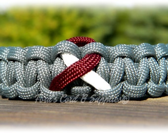Head and Neck Cancer, Throat Cancer, Laryngeal Cancer, Pharyngeal Cancer, Oral Cancer, Awareness Ribbon Bracelet, Paracord Bracelet