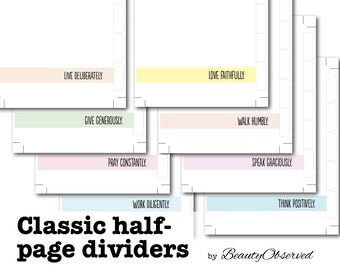 "Instant Download 8 Classic Half-Page Planner Dividers Digital PDF 5.5"" x 8.5"" Motivational Pastels by Beauty Observed"