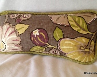 Beautiful Purple, green and taupe decorator fabric pillow cover.
