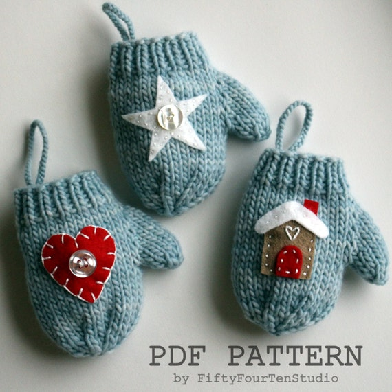 Knitting pattern christmas decoration mini mitten