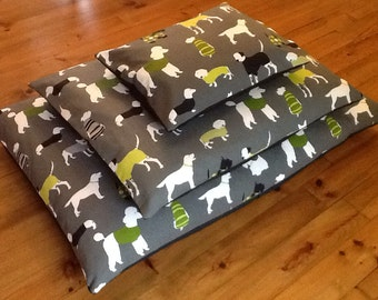 LARGE/EXTRA LARGE Dog Bed with Cotton Designer Fabric Cover and Extra Deep Pillow 130cm x 83cm