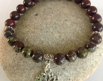 Dragons Blood/Bloodstone Bracelet. Grounding Centering.Earthy Stone. Yoga Bracelet. Lotus Flower. Men or Women. Simple, Stretch.