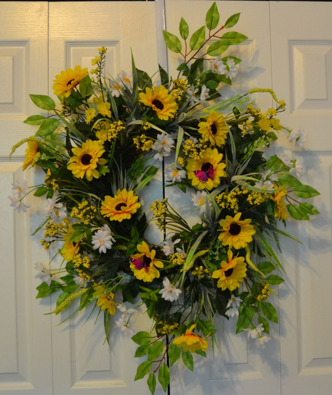 Summer sunflower wreath outdoor wreath spring wreath garden