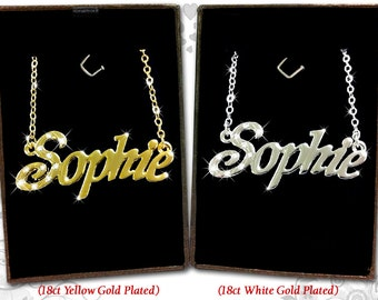 Name Necklace Sophie  - 18K Gold Plated, Czech Rhinestones