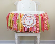 Citrus Rag Tie Banner for Highchair, 1st Birthday Banner, Highchair banner, Pink Lemonade Party, Photo Prop,Nursery decor/ Hawaiian Luau