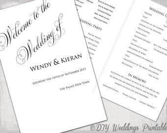 "Wedding program template DIY ceremony program printable black & white ""Parfumerie"" Any color YOU EDIT digital download"