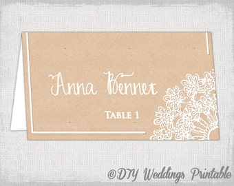 "Rustic place cards template ""Lace Doily kraft"" DIY printable name card -YOU EDIT Word template instant download"