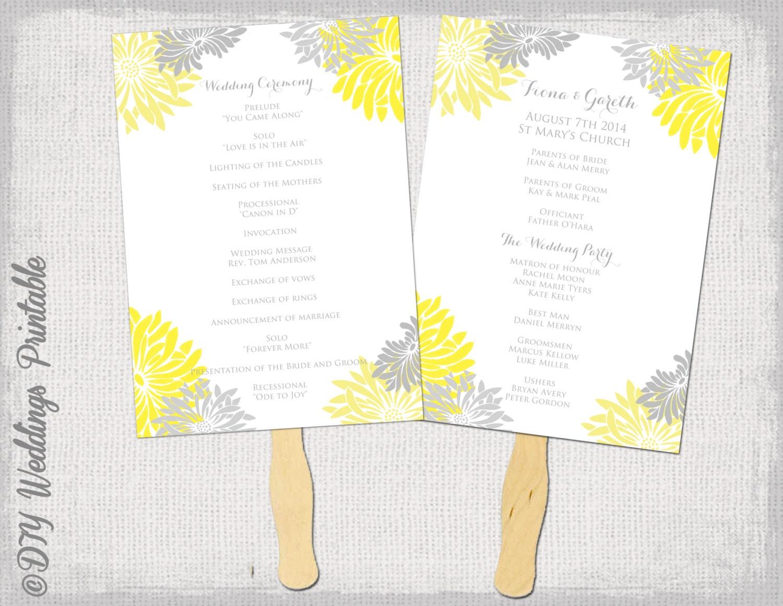wedding fan program template flower burst yellow