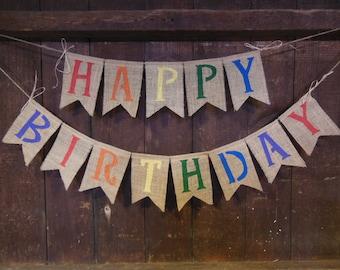 Happy Birthday Burlap Banner, Happy Birthday Bunting, Birthday Garland, Burlap Banner, Photo Prop, Rustic Birthday Decor, Gender Neutral