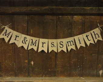 Custom Mr and Mrs Banner, Mr and Mrs Garland Bunting, Burlap banner, Burlap Garland, Wedding Shower Decor, Personalized country barn