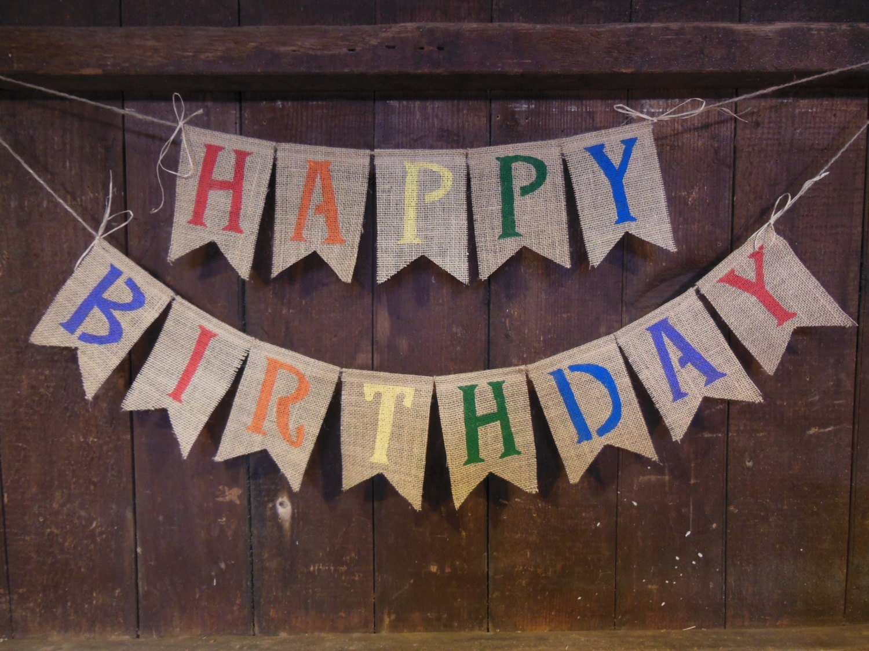 Happy Birthday Burlap Banner Happy Birthday Bunting Birthday