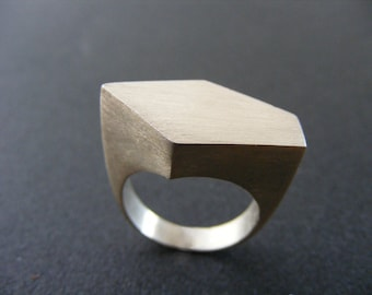 Sterling Silver Handmade Ring , Geometric Faceted Statement Ring ,
