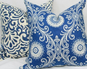 "Blue & white decorative throw pillow cover. 18"" x 18"".toss pillow. Accent pillow."