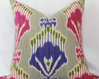 Pink & purple ikat decorative throw pillow cover.  18x 18. 20 x 20. 22 x 22.24 x 24. 26 x 26. Toss pillow cover.