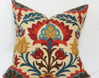 "Red, blue & tan decorative pillow cover. 18"" x 18"". 20"" x 20"""