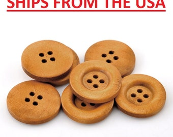 "50 7/8"" Medium Brown Wooden Buttons, 7/8 inch Wood Buttons 23mm Wood Wooden Buttons Bulk Wood Button Wholesale Wood Buttons Wholesale"