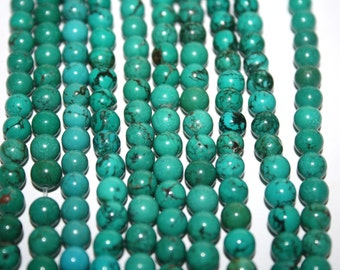 Blue Turquoise Color Round Howlite Bead - 6mm - 72ct - D106