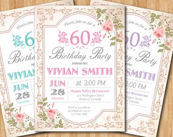 60th Birthday Invitation Women Surprise Birthday. Adult Elegant Floral flower. Purple, Pink, Blue, any color. Printable digital.
