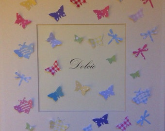 Personalised new baby, Christening or Girl's birthday gift 3D Butterfly, bumble bee and dragon fly picture