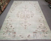 Vintage Oushak Handmade Pale Aqua Color Overdyed Rug , Primitive Faded patterned rug