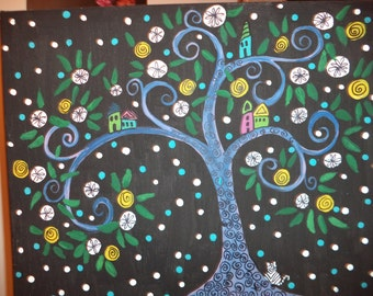 Acrylic folk art tree painting/abstract/ original artwork