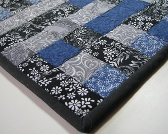 Bright And Colorful Blue Gray And Black Fabric Woven
