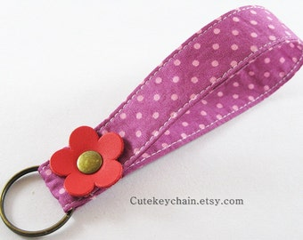Fabric Key Chain, Fabric Wristlet Key Fob, Fabric Keyring, Keychain Wristlet With Red Leather Flower