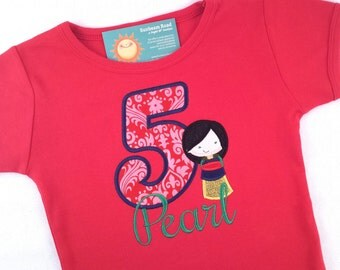 Princess Birthday Shirt with Asian Princess, Number and Embroidered Name