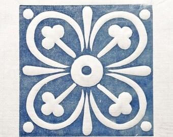 Linocut blue ceramic tile 15x15