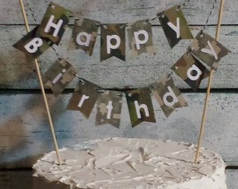 """Cake Bunting, """"Camo""""  Happy Birthday, Camouflage, Cake Topper, Cake Banner"""