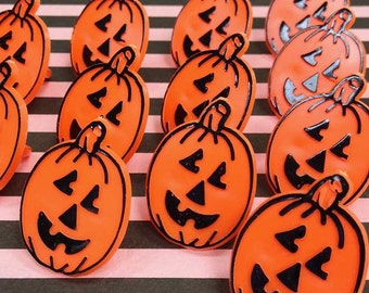 12 Oblong Pumpkins Rings Cake Toppers Jack o' Lanterns Halloween Cupcake Picks Plastic Cake Picks Decorations Baking Party Supplies
