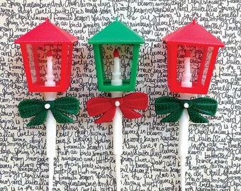 6  Lantern Cake & Cupcake Picks Red and Green Christmas Cake Decorations Large Street Light Toppers Baking Supplies