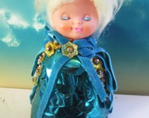 old walco blue beaded sequin Styrofoam doll with a beautiful head