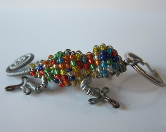 African beaded Lizzard keychain