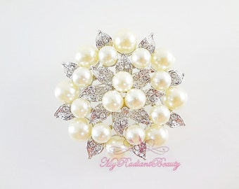 Bridal Brooch, Silver Plated Cream Pearl Clear Rhinestone Crystal leaf Flower , Wedding Brooch, Bridal Brooches  BR0030