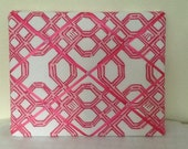 Lilly Pulitzer fabric Well connected in pink toss/lumbar pillows WITH inserts or memo board. Great gift for students.