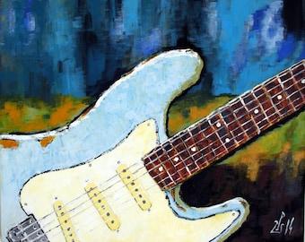 Sonic Blues, original guitar art, guitar painting